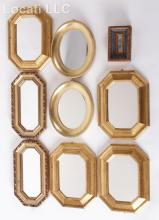 A Group of Nine Small Gilt Mirrors, Some Italian
