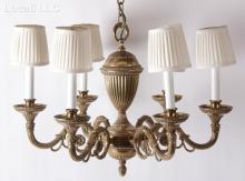 A Neoclassical Style Brass Chandelier