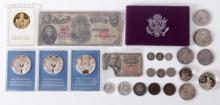 A Group of US Coins and Currency