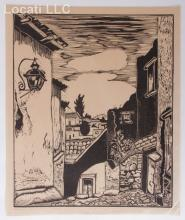 Carl Lewis Pappe (Hungarian / American / Mexican 1900 - 1998) Woodcut