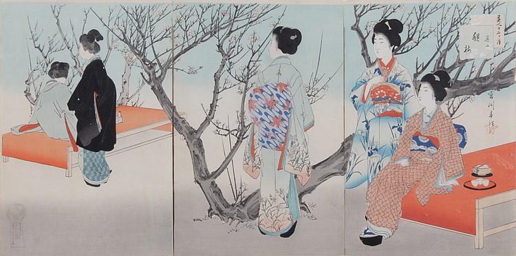 Miyagawa Shuntei (1873-1914) Japanese Woodblock Print, Triptych