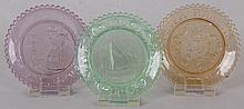 Three American Flint Glass Colored Cup Plates
