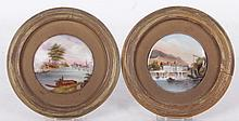 Two Framed Hand Painted Porcelain Plaques, 19th Century