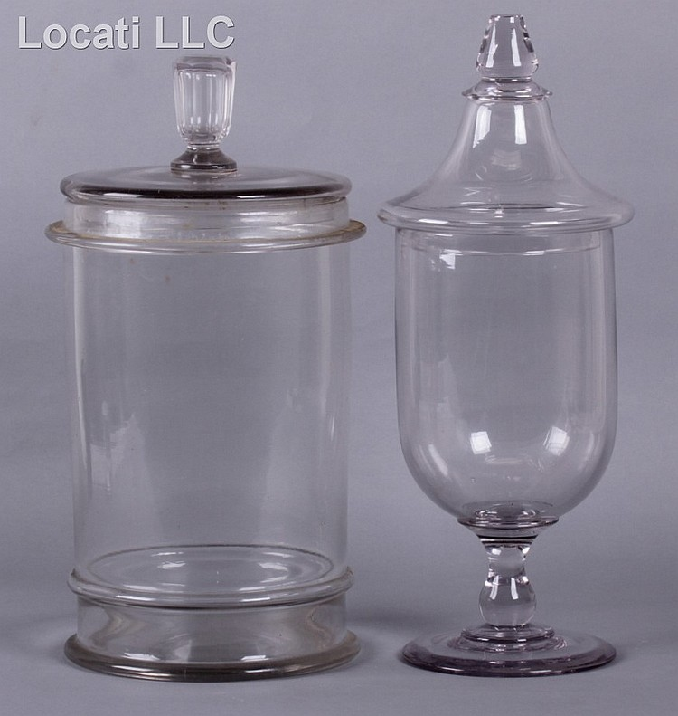 Two early glass apothecary jars for Designer glass jars
