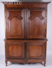 A French Provincial Oak Two Part Cupboard, 19th Century