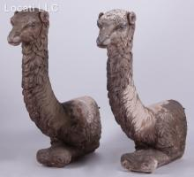 A Pair of Large Plaster Llama Ornaments