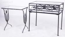 Two Wrought Iron Garden Tables