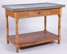 A Zinc Top Kitchen Table