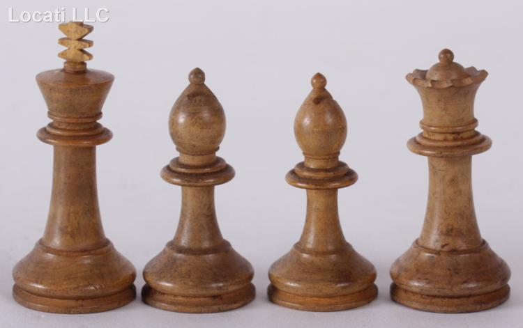 Estate Lot 19th Century Carved Wooden Chess Set And Inlaid