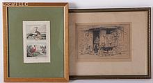Estate Lot: Brouet Etching and Ornithological Print