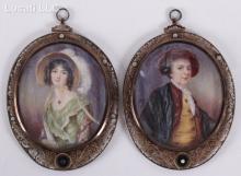 A Pair of Portrait Miniatures, 19th Century