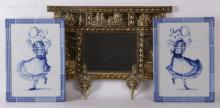 Estate Lot: Dutch Style Brass Mirror and Blue and White Plaques
