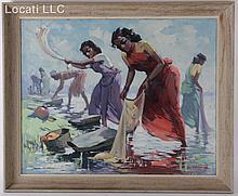 G D Paulraj  (1914 - 1979) Oil on Board