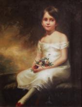 A Decorative Oil on Board, Portrait of a Child