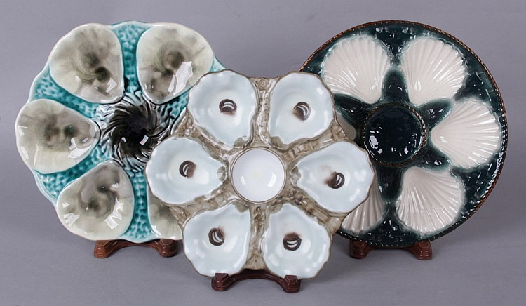 Three Oyster Plates, Majolica and Porcelain