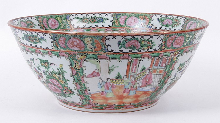Chinese Rose Medallion Punch Bowl with Stand