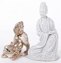 Two Pieces of Asian Ceramics, Including a Blanc de Chine Figure.