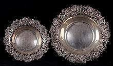 Two Rococo Style Reticulated Sterling Silver Bowls