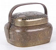 A Chinese Brass Hand Warmer, Qing Dynasty