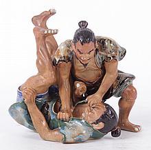 A Sumida Gawa Figural Group, Wrestlers