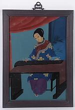 A Chinese Reverse Painted Glass Panel