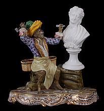 An Unusual Porcelain Figural Group, Monkey Sculptor