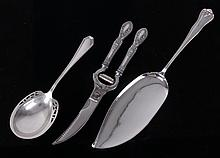 Three American Sterling Silver Pieces, Flatware and Shears
