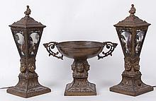 A Three Piece Set, Lamps and Compote with Native American Decoration