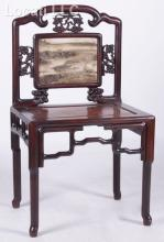 A Chinese Rosewood and Marble Side Chair