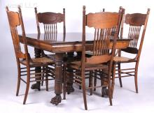 A Set of Larkin Pressed Back Victorian Chairs with Oak Dining Table