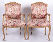A Pair of Louis XV Style Provincial Armchairs