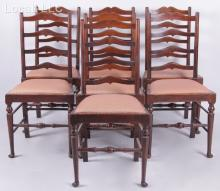 A Set of Seven English Elm Ladderback Side Chairs
