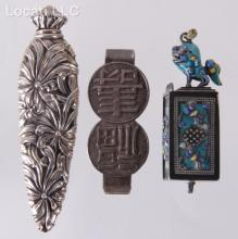 Estate Lot: Chinese Silver Items and a Scent Bottle
