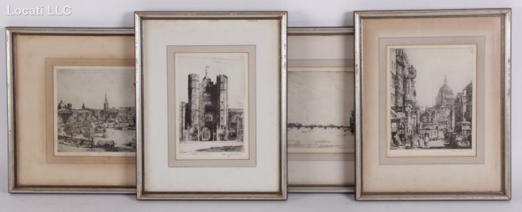 Four Etchings, European Scenes