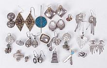 A Group of Sterling and Silver Earrings