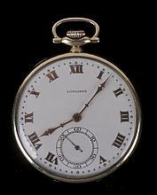 A Longines Open Face 14k Gold Pocket Watch