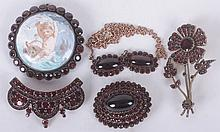 Five Pieces of Garnet Cluster Jewelry