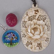 Two Pendants and a Carved Dyed Quartz