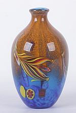 Large Blue and Orange Murano Glass Vase