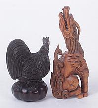 Two Boxwood Netsuke, Rooster and Kirin Form