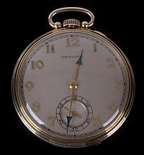 A Hamilton Open Face 14k Gold Pocket Watch