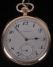 An Open Face 14k Yellow Gold Pocket Watch by J. E. Caldwell