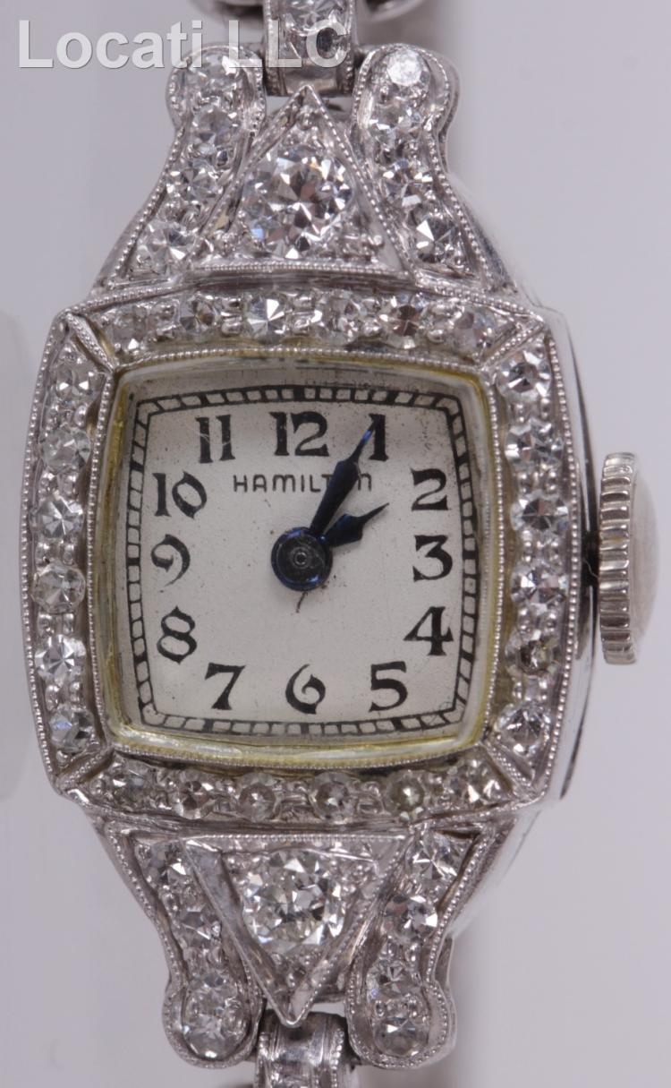 A Ladies Hamilton Diamond and Platinum Wristwatch with Earri