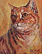 Pat Beck, (American, 20th Century) Oil on Canvas, Portrait of a Cat