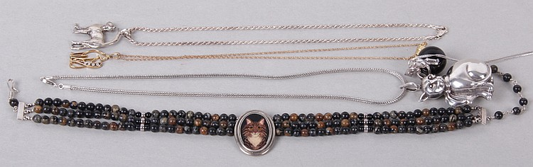 Grouping of Cat Related Necklaces