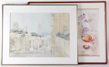 Rose Naftulin (American 20th Century) and Sandra Uhle Sawin (American 1940-1990), Two Watercolors
