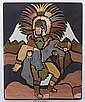A Mexican Mixed Metal Plaque, Aztec Interest