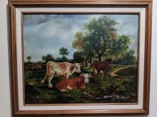 James McAuliffe Cows in Field Oil Painting