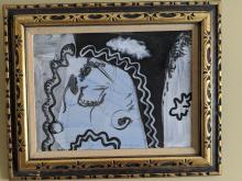 Archie Rand Blue Black & White Abstract Oil Painting