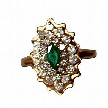 14K Yellow Gold, Diamond and Emerald Cluster Ring